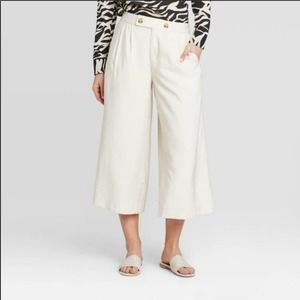 Who What Wear Cream Wide Leg Front Pleat Cropped